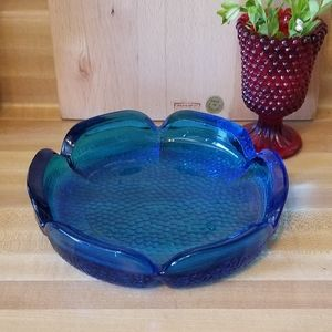 Vintage Turquoise Glass Ashtray